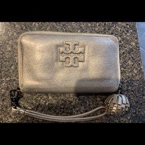 Tory Burch Gray Silver Zip Around Pompom Wallet
